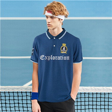 Contrast embroidery pique polo shirt
