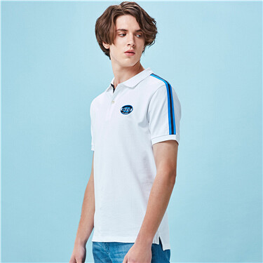 Stretchy pique contrast short-sleeve polo shirt