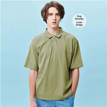 Drop-shoulder loose solid polo shirt
