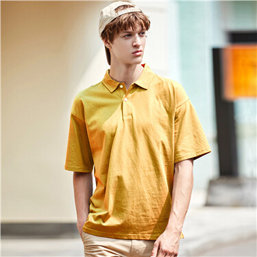 Drop-shoulder loose solid polo