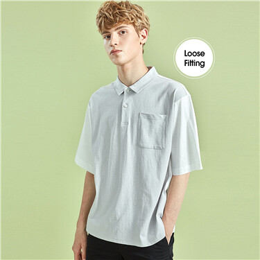 Drop-shoulder loose contrast polo shirt