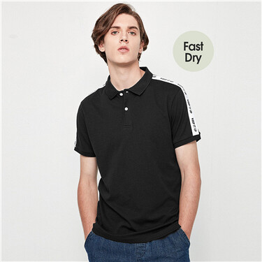 Webbing splicing pique fast dry short sleeves polo shirt