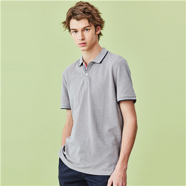 Contrast color pique short-sleeve polo shirt