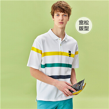 Lycra stretchy drop-shoulder printed polo shirt