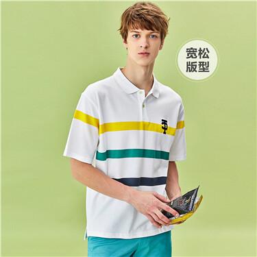 Drop-shoulder contrast color pique short-sleeve polo shirt
