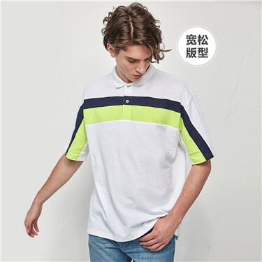 Drop-shoulder contrast color pique short-sleeve polo shirt