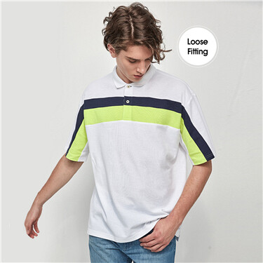 Drop Shoulder Contrast Short Sleeve Polo Shirt