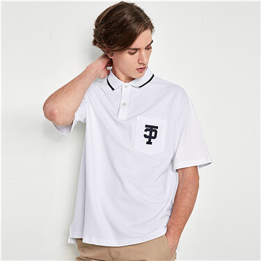 Lycra stretchy pique drop-shoulder polo tee