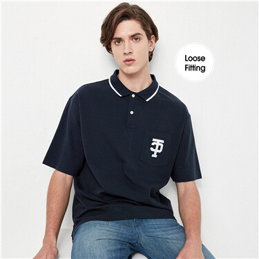 Lycra Stretchy Pique Drop-Shoulder Polo Shirt