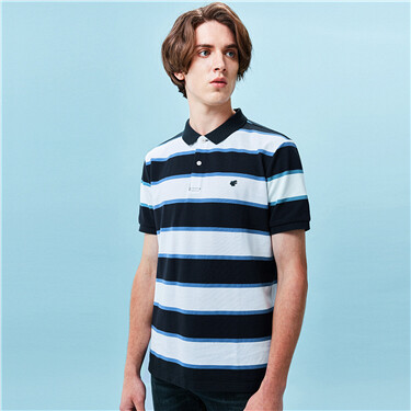 Stripe lycra stretchy short-sleeve polo shirt