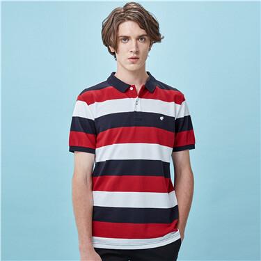 Stripe lycra stretchy short-sleeve polo shirt