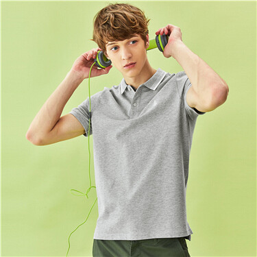 Anchor embroidery pique short-sleeve polo shirt
