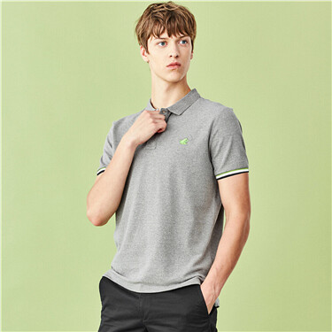 Embroidery short-sleeve pique polo shirt