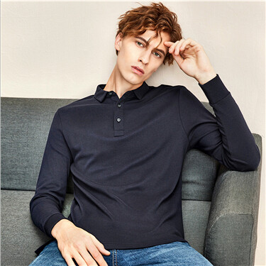 Thick solid design cotton long-sleeve polo shirt