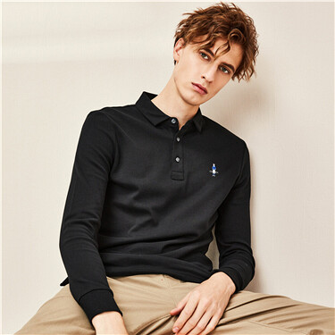 Thick small embroidery cotton long-sleeve polo shirt