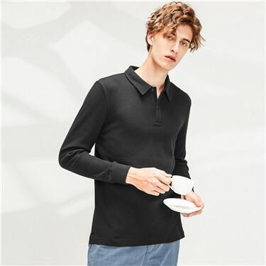 Thick waffle plain polo shirt