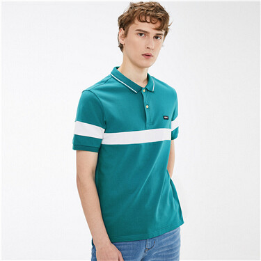 Contrast embroidery short-sleeve polo shirt