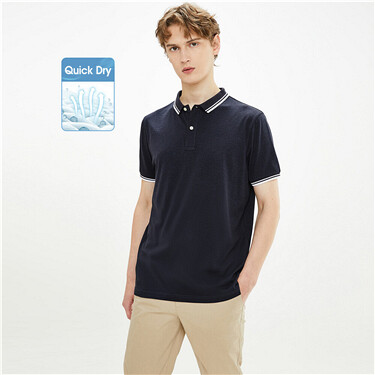 High-tech quick dry contrast polo shirt