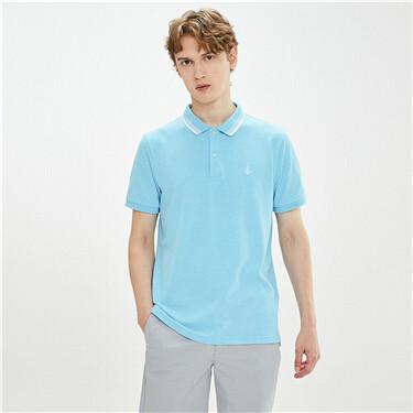 Embroidery stretchy pique polo shirt
