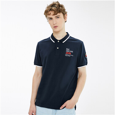 Contrast stretchy short-sleeve polo shirt