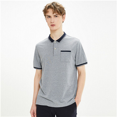 Contrast patch pocket pique polo shirt