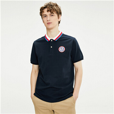 Colorblock Embroidered Elastic Piqué Short Sleeve POLO