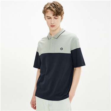 Fresh contrast embroidery polo shirt