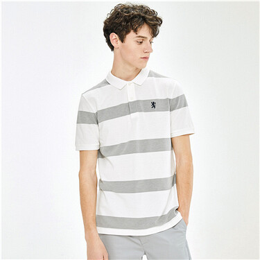 Stripe stretchy short-sleeve polo shirt