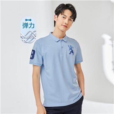 3D Lion Embroidery Short-sleeve Polo Shirt