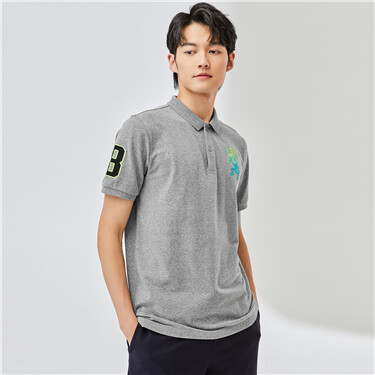 3D Lion Embroidery Short-sleeve Polo Shirt