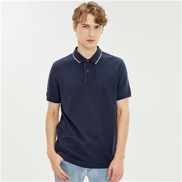 Pique short-sleeve polo shirt