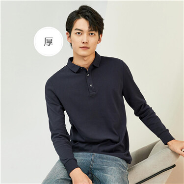 Thick sanded long-sleeve polo shirt