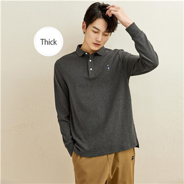 Embroidery thick sanded polo shirt