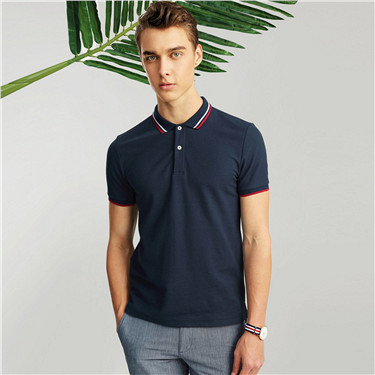 Contrast-trim short sleeve polo
