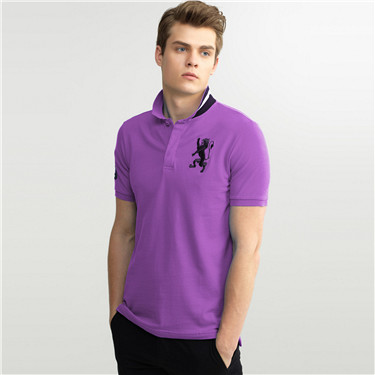 Men 3D Lion embroidery polo