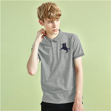 Napoleon embroidery stretchy slim polo shirt