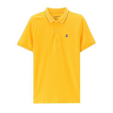Pique embroidered slim polo shirt
