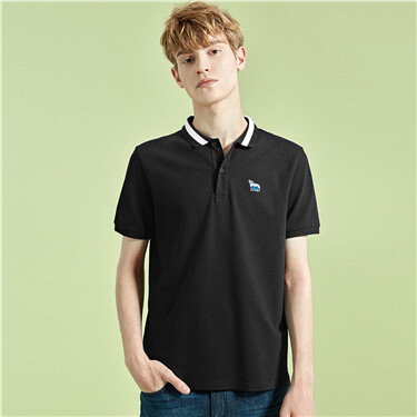 Pique embroidered slim polo shirt