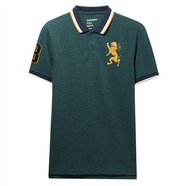 3D Lion multi-color embroidery short sleeves polo