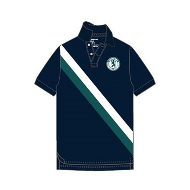 Short-sleeve contrast color polo shirt