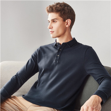 Solid long-sleeve polo shirt