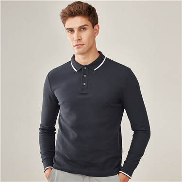 Contrast color long-sleeve polo shirt