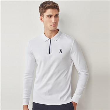Embroidery lion zip long-sleeve polo shirt