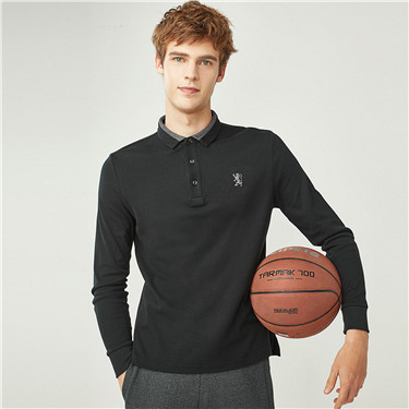 Embroidery lion long-sleeve polo shirt