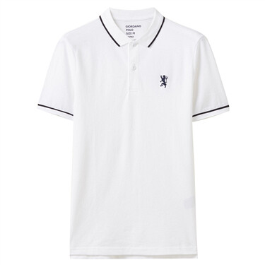 Embroidery lion zip short-sleeve polo shirt