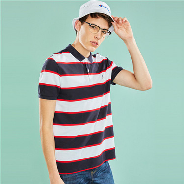 Embroidered slim striped polo