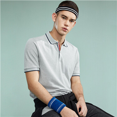 Pique slim contrast color polo