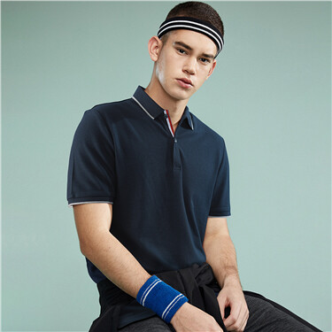 Pique contrast color polo