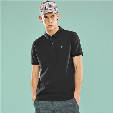 Pique embroidered frog stretchy polo