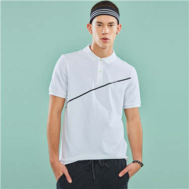 Printed stretchy pique polo